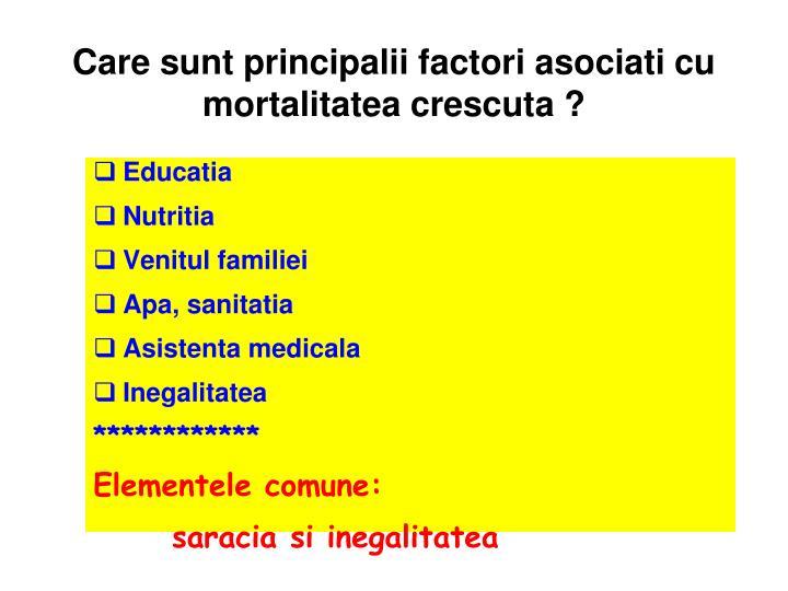 Care sunt principalii factori asociati cu mortalitatea crescuta ?