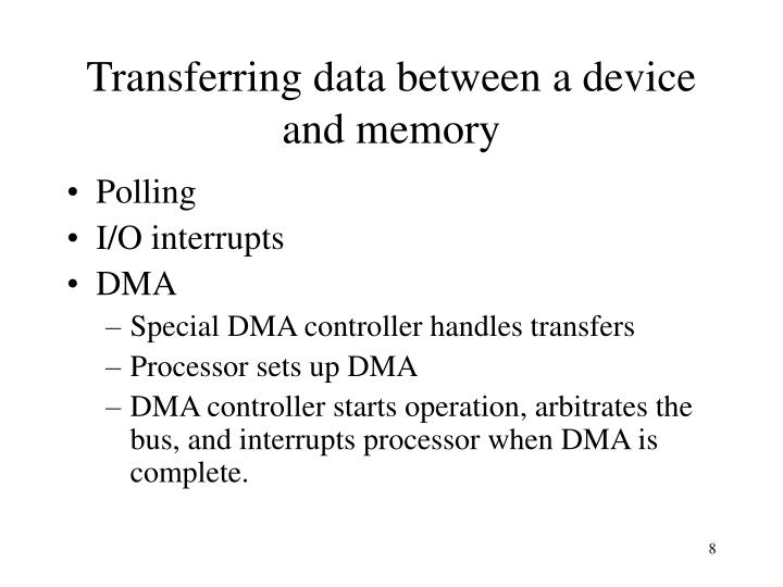 Transferring data between a device and memory