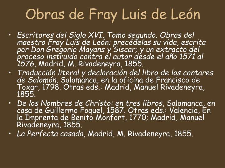 Obras de Fray Luis de León