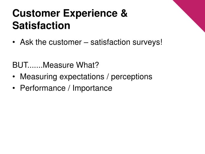 Customer Experience & Satisfaction