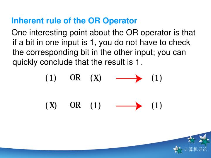 Inherent rule of the OR Operator