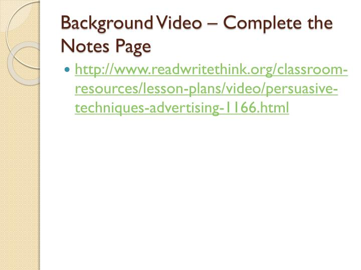 Background Video – Complete the Notes Page