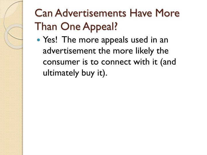 Can Advertisements Have More Than One Appeal?