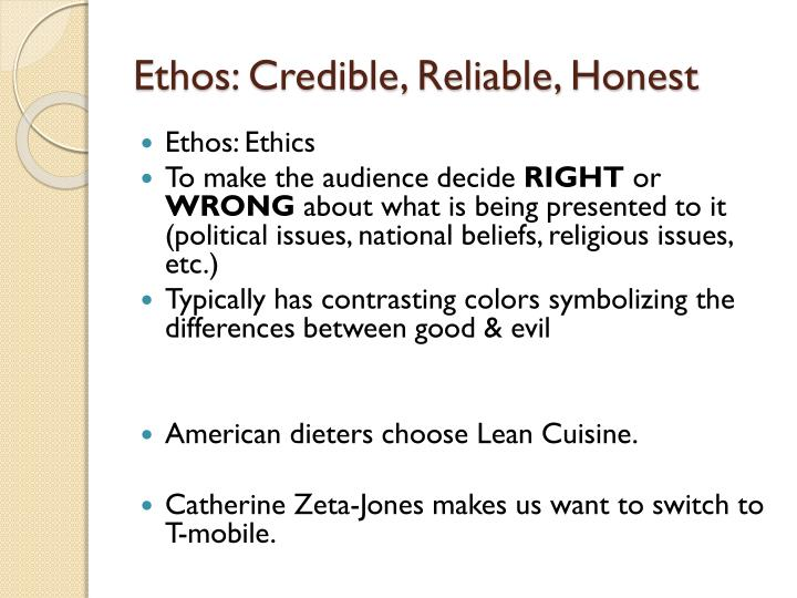 Ethos: Credible, Reliable, Honest