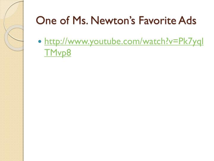 One of Ms. Newton's Favorite Ads
