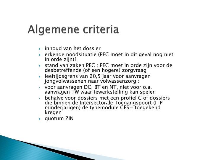 Algemene criteria