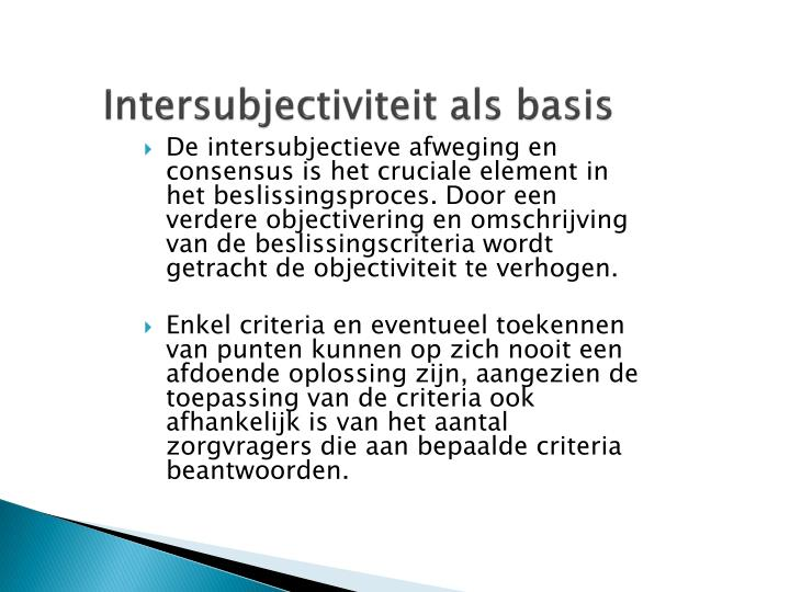 Intersubjectiviteit als basis