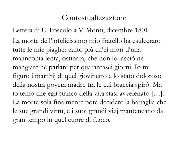 Lettera di U. Foscolo a V. Monti, dicembre 1801