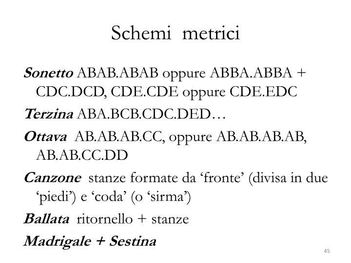 Schemi  metrici