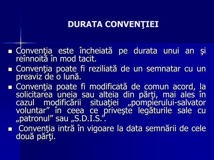 DURATA CONVENIEI