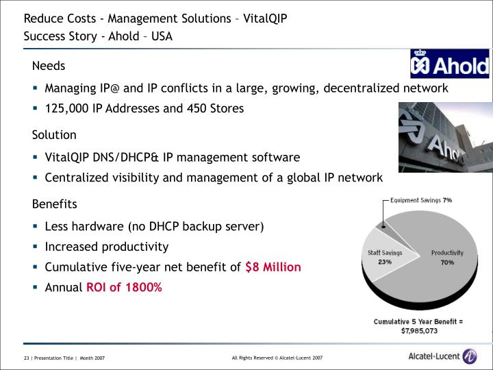 Reduce Costs - Management Solutions – VitalQIP