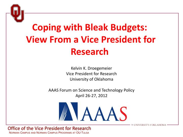 Coping with bleak budgets view from a vice president for research