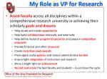 my role as vp for research