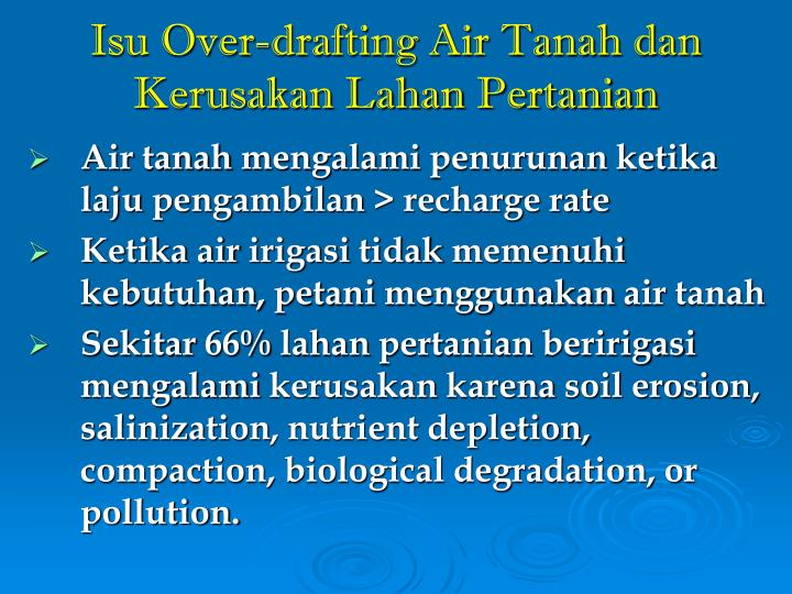 Isu Over-drafting Air Tanah dan Kerusakan Lahan Pertanian