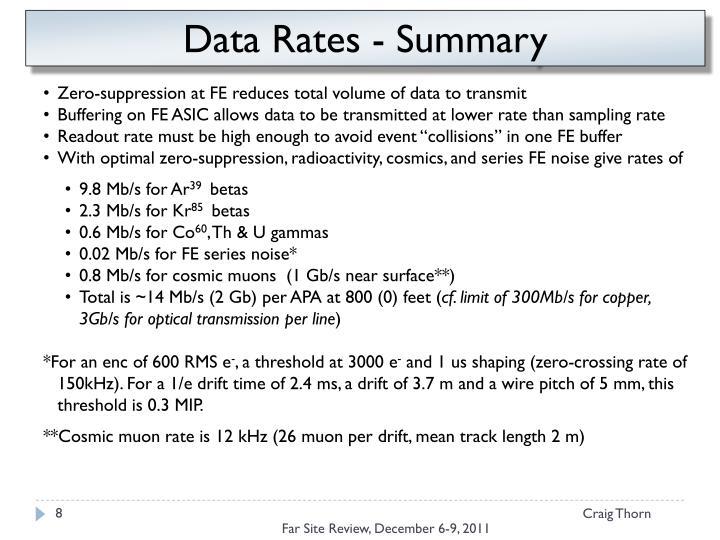 Data Rates - Summary