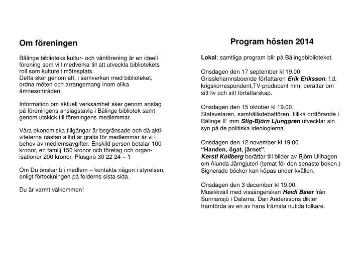 Program hösten 2014