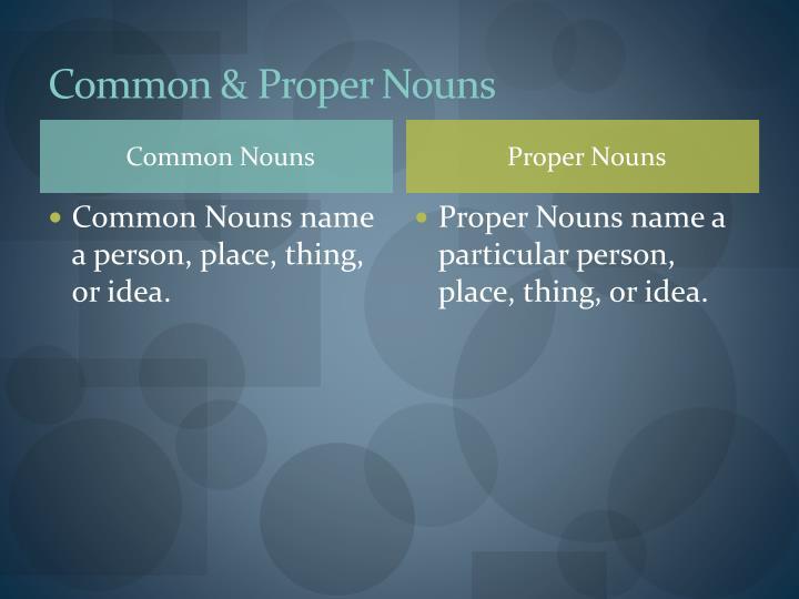 Common & Proper Nouns