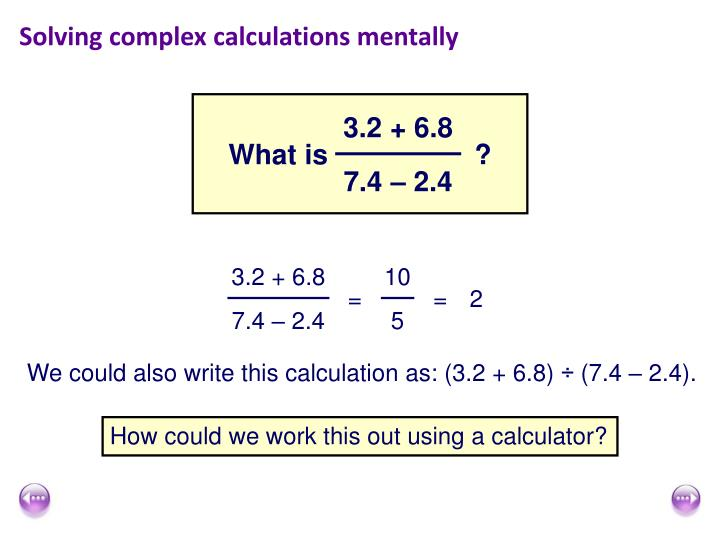 Solving complex calculations mentally