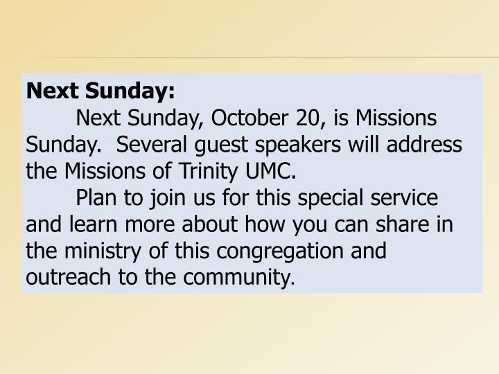 Next Sunday: