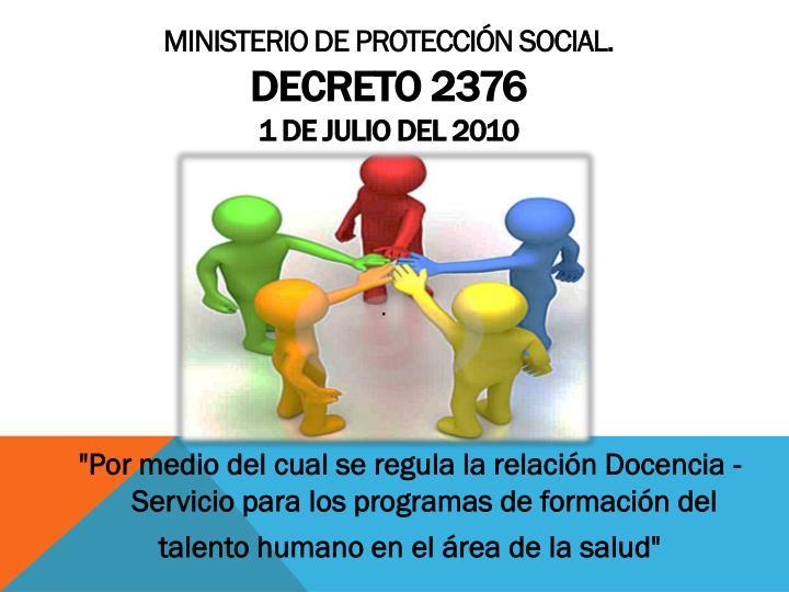 MINISTERIO DE PROTECCIÓN SOCIAL.