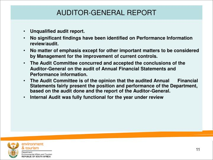 AUDITOR-GENERAL REPORT
