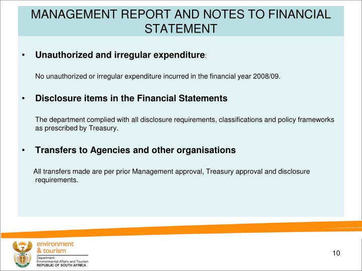MANAGEMENT REPORT AND NOTES TO FINANCIAL STATEMENT