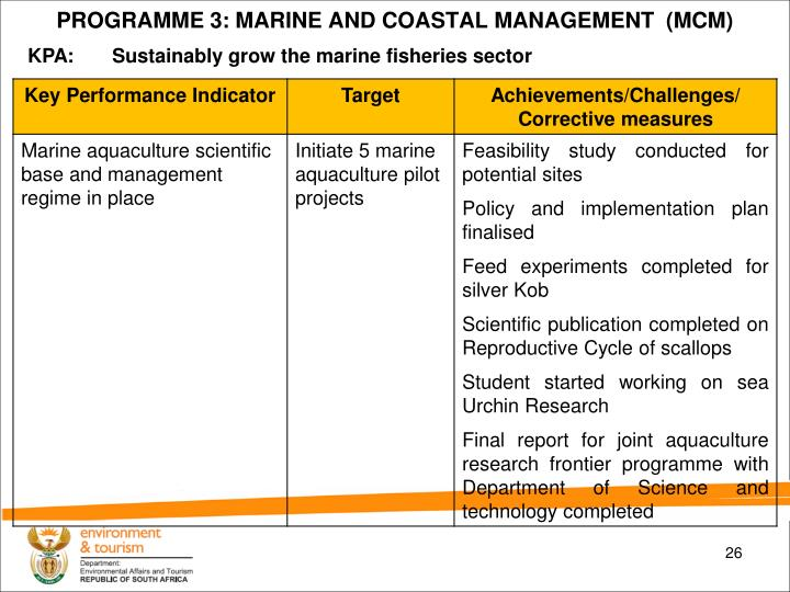 PROGRAMME 3: MARINE AND COASTAL MANAGEMENT  (MCM)
