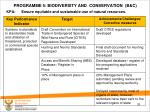 programme 5 biodiversity and conservation b c