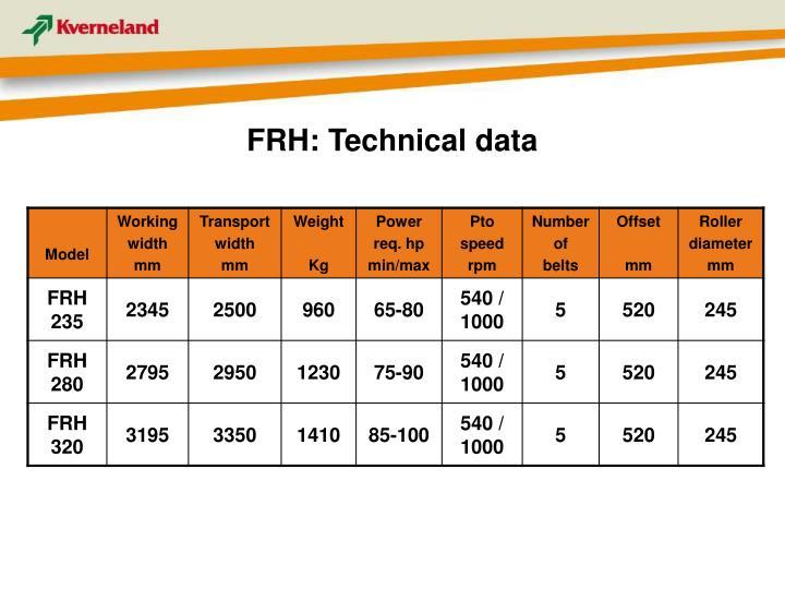 FRH: Technical data