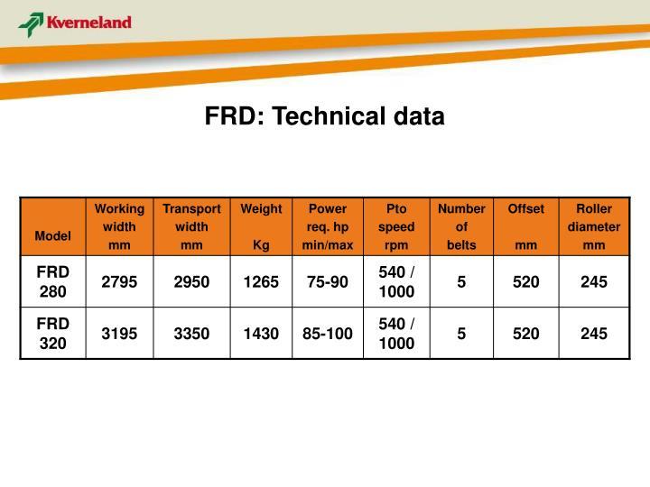 FRD: Technical data