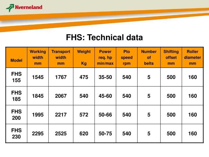 FHS: Technical data
