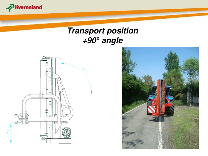 Transport position  +90° angle