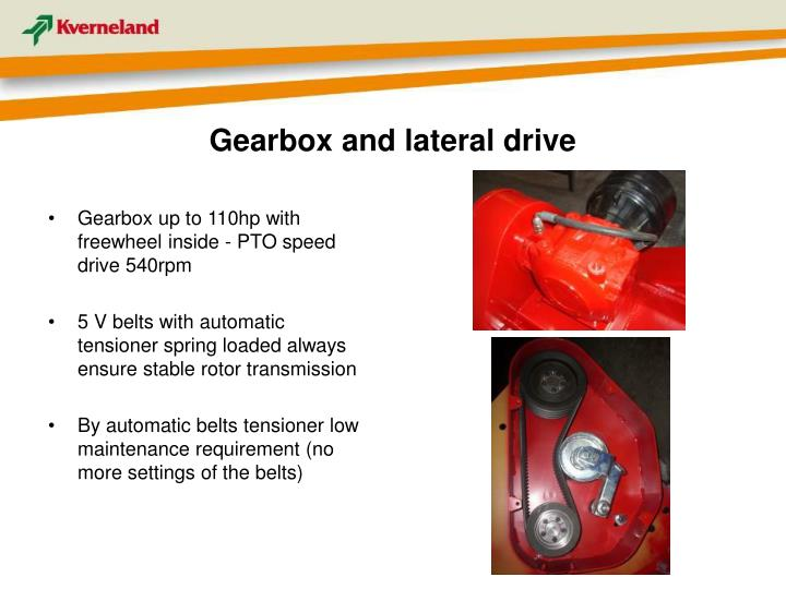 Gearbox and lateral drive