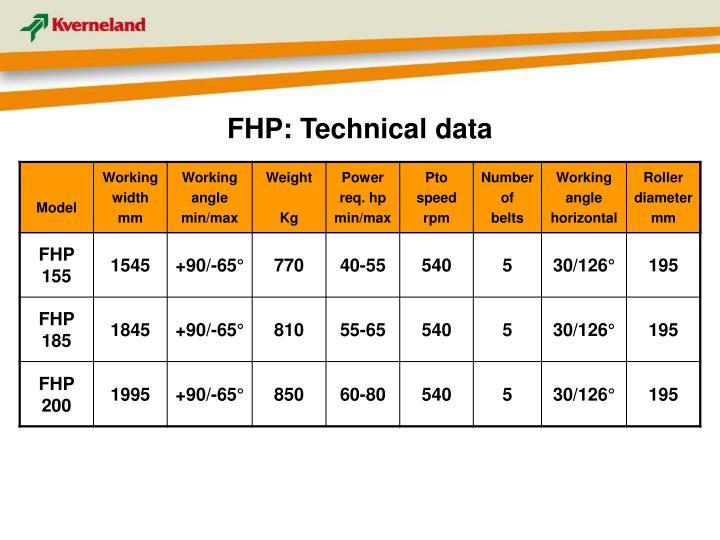FHP: Technical data