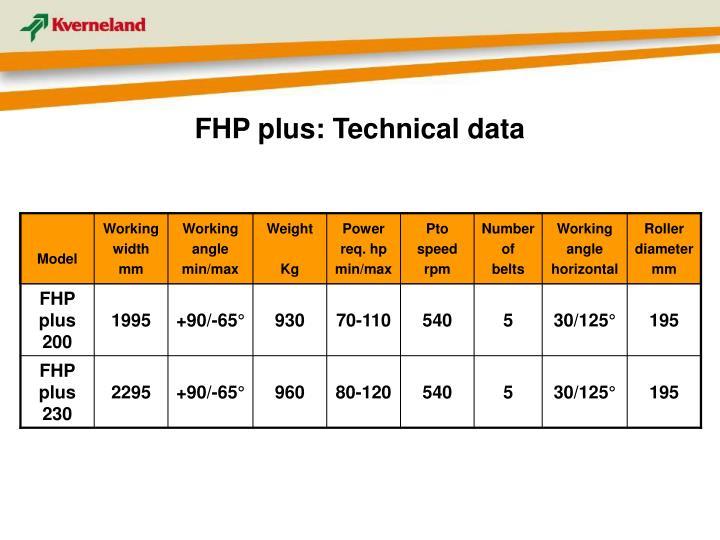 FHP plus: Technical data