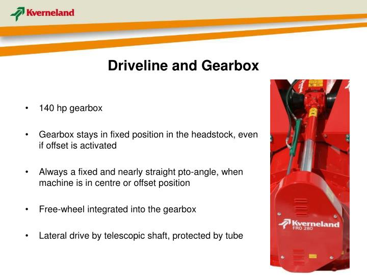 Driveline and Gearbox