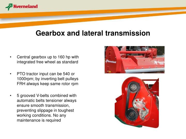 Gearbox and lateral transmission