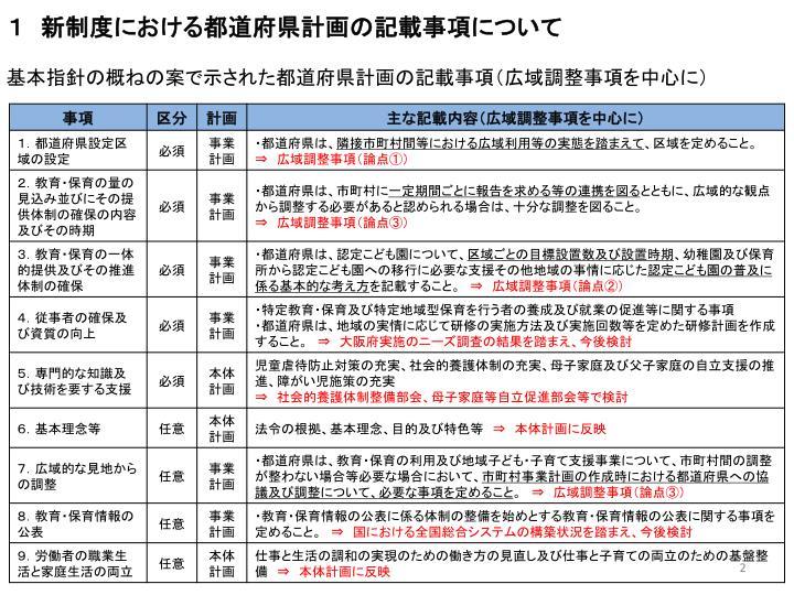 1 新制度における都道府県計画の記載事項について