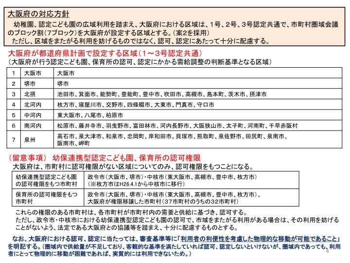 大阪府の対応方針