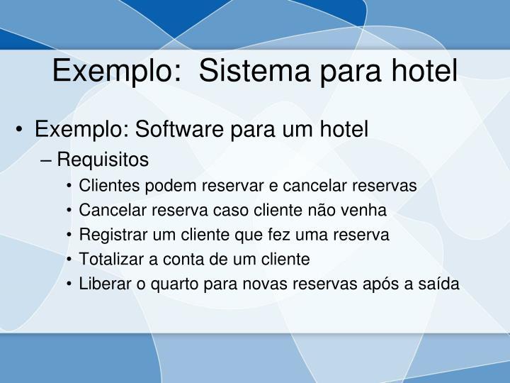 Exemplo:  Sistema para hotel