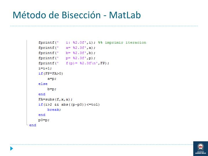 Método de Bisección - MatLab