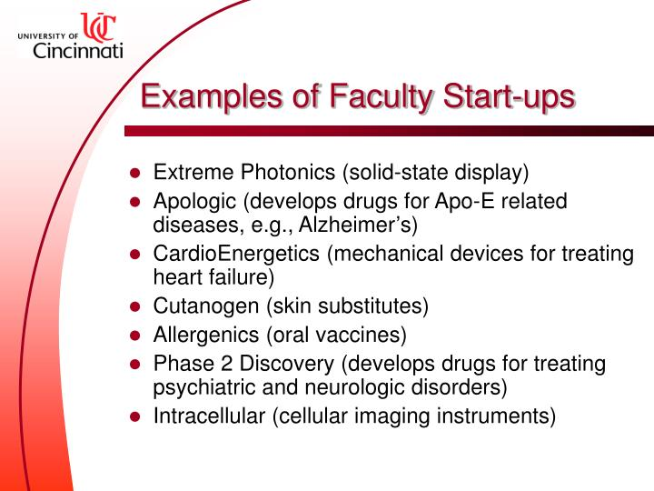 Examples of Faculty Start-ups