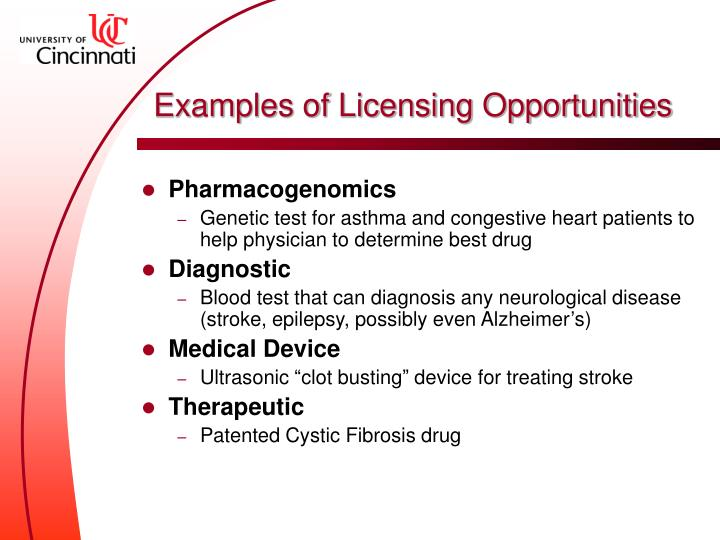 Examples of Licensing Opportunities