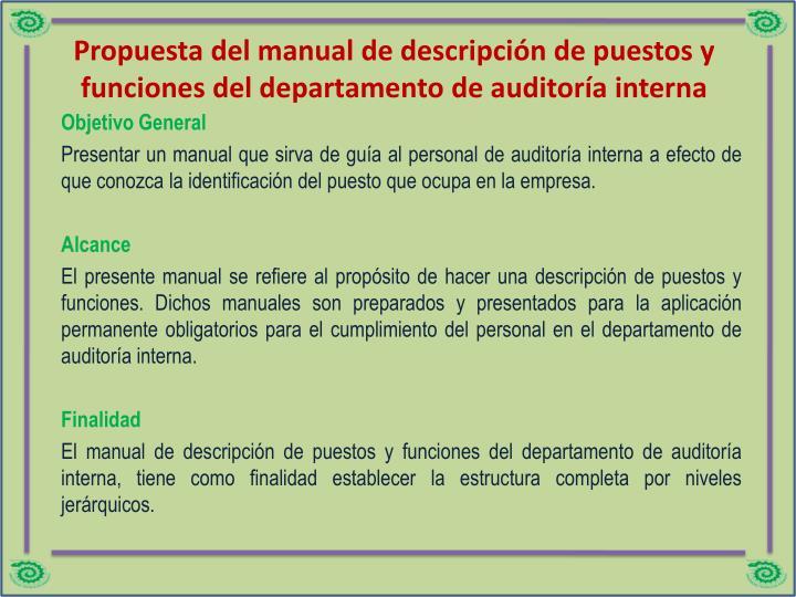 Propuesta del manual de descripción de puestos y funciones del departamento de auditoría interna