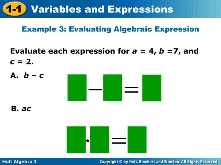 Example 3: Evaluating Algebraic Expression