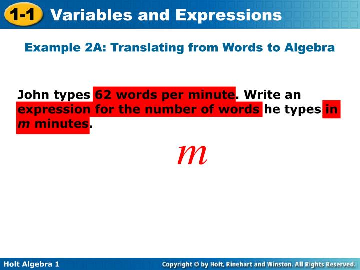 Example 2A: Translating from Words to Algebra