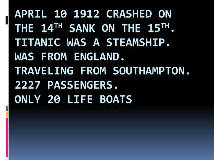 April 10 1912 crashed on the 14