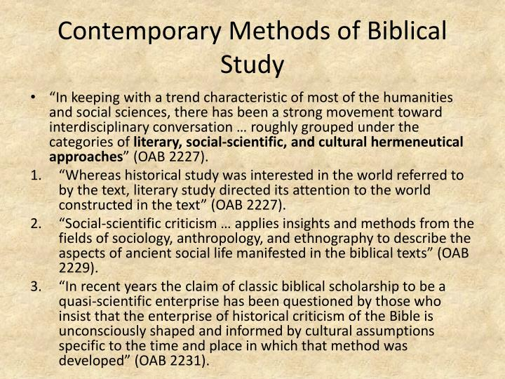 Contemporary Methods of Biblical Study