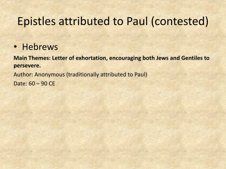 Epistles attributed to Paul (contested)