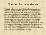 question for the audience